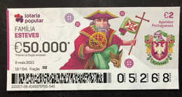 RASP99, Lottery Tickets, Portugal, « Família ESTEVES», « Family Names: ESTEVES », 2021 - Lottery Tickets