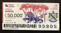 RASP99, Lottery Tickets, Portugal, « Família BARBOSA », « Family Names: BARBOSA », 2021 - Lottery Tickets