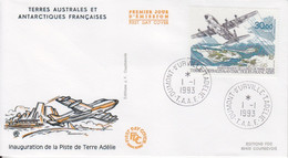 Terre Adélie, FDC Du PA 128 (Avion Au Décollage) Obl. Premier Jour Le 1/1/93 - Lettres & Documents