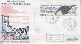 Terre Adélie, FDC Du N° PA 133 (Arrivée Des Manchots Empereur) Obl. Premier Jour Le 1/1/94 + Coordonnées - Lettres & Documents