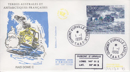 Terre Adélie, FDC Du N° PA 138 (Raid Dome C) Obl. Premier Jour Le 1/1/96 + Coordonnées - Lettres & Documents