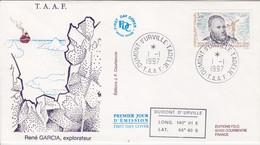 Terre Adélie, FDC Du N° 216 (René Garcia) Obl. Premier Jour Le 1/1/97 + Coordonnées - Lettres & Documents