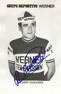 CARTE CYCLISME AGUSTIN TAMAMES SIGNEE TEAM WERNER 1971 ( SERIE PAPIER FORT FORMAT 9 X 14 ) - Cycling