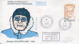 Terre Adélie, FDC Du N° 232 (Georges Laclaviére) Obl. Premier Jour Le 1/1/98 + Coordonnées - Lettres & Documents