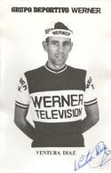 CARTE CYCLISME VENTURA DIAZ SIGNEE TEAM WERNER 1971 ( SERIE PAPIER FORT FORMAT 9 X 14 ) - Cycling