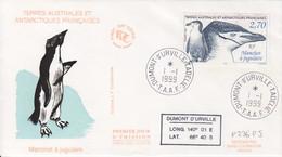 Terre Adélie, FDC Du N° 236 (Manchot à La Jugulaire) Obl. Premier Jour Le 1/1/99 + Coordonnées - Lettres & Documents