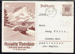 "Poftkarte ""Olympifche Winterfpiele Garmifch-Partenkirchen"" Correspondance De Hamburg 11-4-1936 Vers Mogilno (Pol) B/TB - - Stamped Stationery"