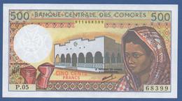 COMOROS - P.10b (1) – 500 FRANCS  ND - UNC   Prefix P - Comoros