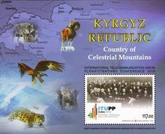 Kyrgyzstan 2018 International Union Of Telecommunication Map Mountains Fauna SS MNH - Raubkatzen