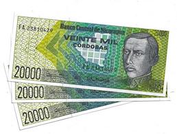 LOT 3 PIECES - NICARGUA 20 000 CORDOBAS 1985. AUNC - Nicaragua