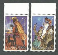 Zambia, 1998 (#859-60a), Christmas Weihnachten Natale Noël Navidad Natal Traditional Stories Dog Sun Dragon - 2v - Christmas