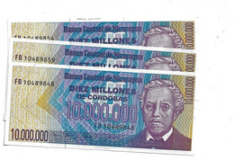 LOT 3 PIECES - NICARGUA 10 000 000 CORDOBAS 1985. AUNC - Nicaragua
