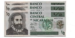 LOT 3 PIECES - NICARGUA 1/2 CORDOBAS AUNC - Nicaragua