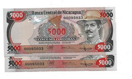 LOT 2 PIECES - NICARGUA 5000 CORDOBAS UNC - Nicaragua