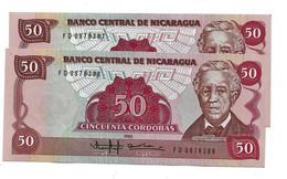 LOT 2 PIECES - NICARGUA 50 CORDOBAS UNC - Nicaragua