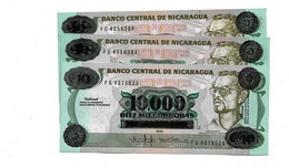 LOT 3 PIECES - NICARGUA 10 000 CORDOBAS UNC - Nicaragua