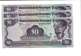 LOT 3 PIECES - NICARGUA 50 CORDOBAS AUNC - Nicaragua