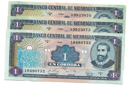 LOT 3 PIECES - NICARGUA 1 CORDOBAS AUNC - Nicaragua