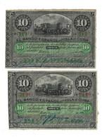 LOT 2 PCS - CUBA 19 CENTURY VF - Cuba