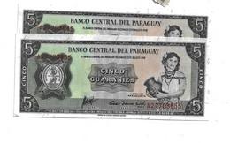 LOT 2 PCS - PARAGUAY 5 GUARANIES AUNC - Paraguay