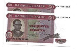 LOT 2 PCS - ZAIRE 50 MAKUTA UNC - Zaire
