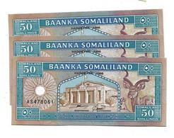 LOT 3 PCS - SOMALILAND 50 FRANCS AUNC - Somalia