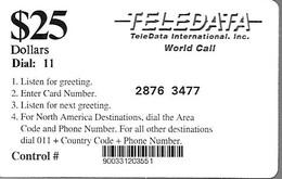 CARTE-PREPAYEE-USA-TELEDATA-25$-MILITAIRE-R° Ecriture Noir--Plastic Fin-Code 4/4 N°-TBE - Military Phonecards