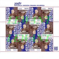 2014.02.22. 200 Anniversary Of The Birth Of Oskar Kolberg - Ethnographer - MNH Sheet Tete-beche - Nuovi