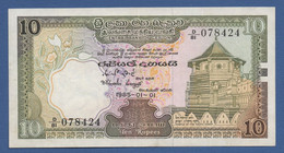 CEYLON - P.92b –  10 Rupees 1985 - XF - Fold - Sri Lanka