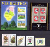 Lituanie 1995, Nature, Jeux Sportifs, Armoiries, 513 / 517** + BF 5 / 6**, Cote 14 € - Litouwen
