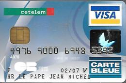 -CARTE-PUCE-MAGNETIQUE-CB-CREDIT-CETELEM-VISA-02/09--Oberthur CS-01-11/04-TBE-RARE - Disposable Credit Card