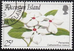 Ascension 1995 Used Sc #605 25p Periwinkle Flowers - Ascension (Ile De L')