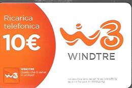CARTE- PREPAYEE-ITALIE-TELECOM -GSM-10€-WINDTRE--Exp06/07/2004-Plastic Fin-GRATTE--TBE - [2] Sim Cards, Prepaid & Refills