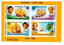 ROMANIA FOGLIETTO EUROPA 1992 NUOVO MNH** - Blocks & Kleinbögen