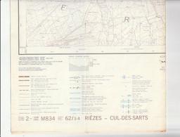 Carte Topographique De Belgique 1:25000  - 62/ 3 - 4    RIEZES -  CUL-DES-SARTS   - Relevé 1985 - Topographical Maps