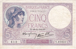 BILLETE DE FRANCIA DE 5 FRANCS DEL 26-12-1940 VIOLET  (BANKNOTE) - 5 F 1917-1940 ''Violet''