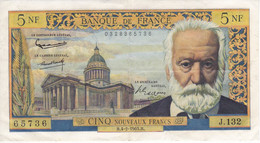 BILLETE DE FRANCIA DE 5 FRANCS DEL 4-2-1965 DE VICTOR HUGO  (BANKNOTE) - 5 NF 1959-1965 ''Victor Hugo''