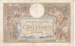 BILLETE DE FRANCIA DE 100 FRANCS DEL 1-3-1934 LUC OLIVIER MERSON  (BANKNOTE) - 100 F 1908-1939 ''Luc Olivier Merson''