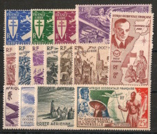 AOF - 1945-49 - Poste Aérienne PA N°Yv. 1 à 15 - Complet - 15 Valeurs - Neuf Luxe ** / MNH / Postfrisch - Unused Stamps