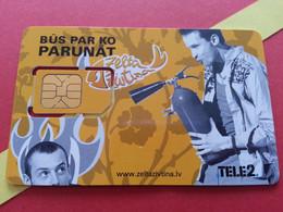 LATVIA SIM GSM TELE 2 Zelta PARUNAT - With Numbers USIM RARE Used (BH1219b5 - Latvia
