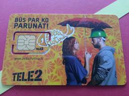 LATVIA SIM GSM TELE 2 Zelta PARUNAT Parapluie - With Numbers USIM RARE MINT (BH1219b5 - Latvia