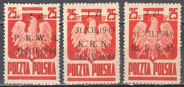 Poland 1944 - Grunwald Monument, Polish Eagle - Overprinted - Mi.386-88- MNH (**) - Nuovi
