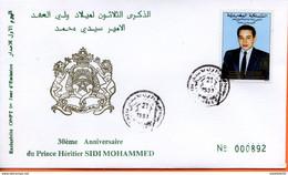 """Maroc,FDC 1er Jour; 1993,TP N°1137 """" 30ème Anniversaire De Mohammed VI """" Morocco,Marruecos - Maroc (1956-...)"""