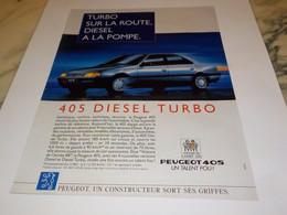 ANCIENNE   PUBLICITE 405 DIESEL TURBO  DE PEUGEOT 1988 - Automobili