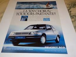ANCIENNE   PUBLICITE TOUJOURS PARTANTE 309  DE PEUGEOT 1988 - Automobili