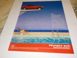 ANCIENNE   PUBLICITE VOITURE 205   DE PEUGEOT 1988 - Automobili