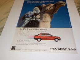 ANCIENNE   PUBLICITE VOITURE 309  DE PEUGEOT 1988 - Automobili
