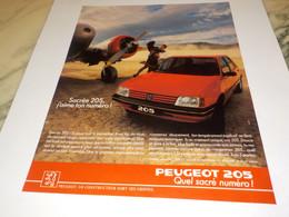 ANCIENNE   PUBLICITE SACRE NUMERO 205  DE PEUGEOT 1988 - Automobili