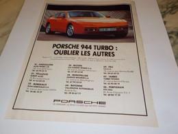 PUBLICITE  VOITURE OUBLIER LES AUTRES PORSCHE 944 TURBO 1988 - Automobili