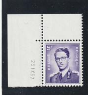 Boudewijn Bril Nr. 1029 - 5 Fr. Postfris Xx - Drukdatum 26.IX.57 - 1953-1972 Anteojos